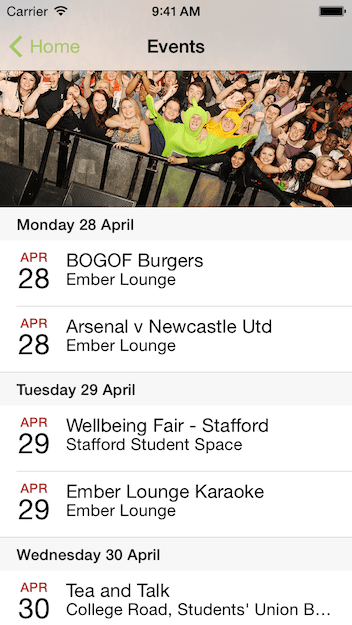 Staffordshire University Students Union iOS App Events Screen