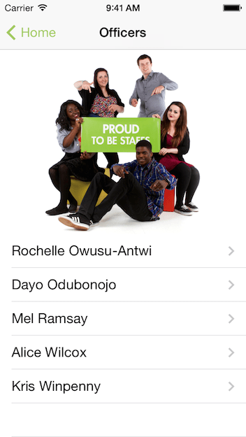 Students Union officers in iPhone App