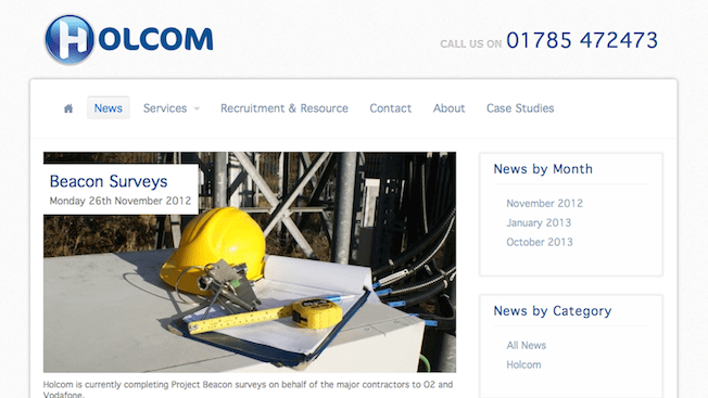 Screenshot of Holcom Communications web site