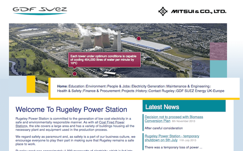 Screenshot of Rugeley Power Station company website
