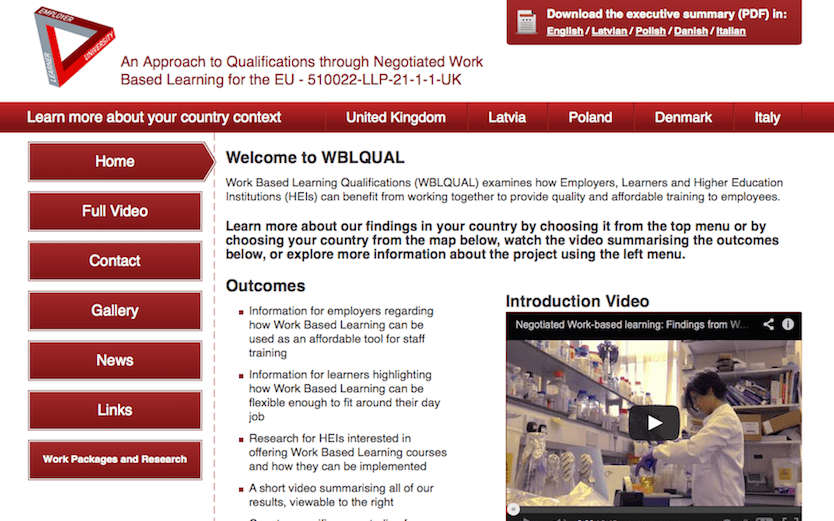 Screenshot of website for EU project at Staffordshire University